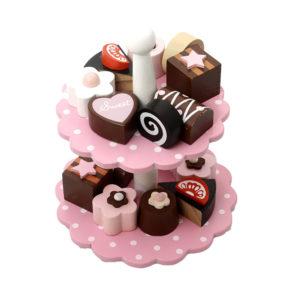 Ružový stojan s koláčikmi