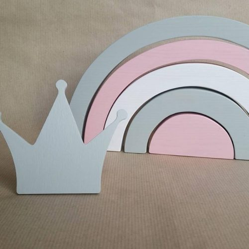 Drevená pastelová dúha pink
