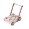 Drevený vozík s kockami ružový
