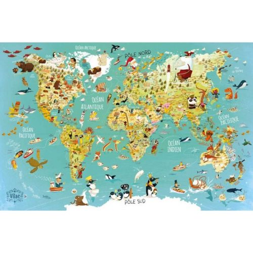 Puzzle mapa sveta 500