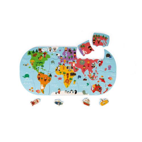 Puzzle Mapa sveta do vody