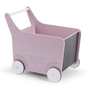 Drevený vozík s tabuľou ružová