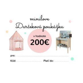 Darčeková poukážka Minilove 200 EUR