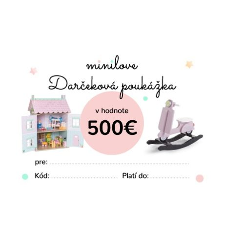 Darčeková poukážka Minilove 500 EUR