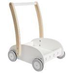 Drevený vozík chodítko biela