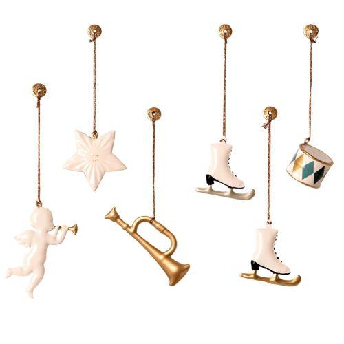 Vianočné ozdoby biela/zlatá v boxe