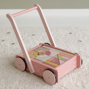 Vozík s kockami Kvietky ružová