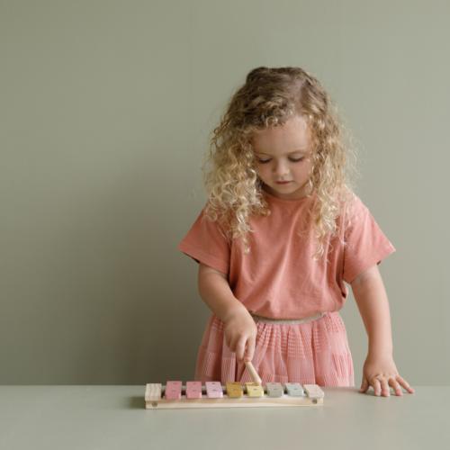 Drevený xylofón ružová