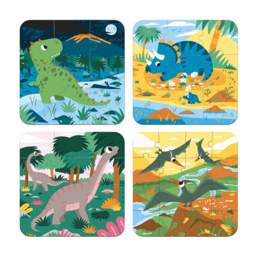 Puzzle 4v1 Dinosaury