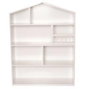 Drevená polica v tvare domčeka biela