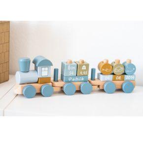Drevený personalizovaný vláčik modrá