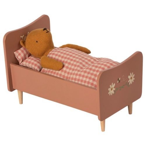 Drevená posteľ Maileg Teddy ružová