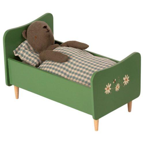 Drevená posteľ Maileg Teddy zelená