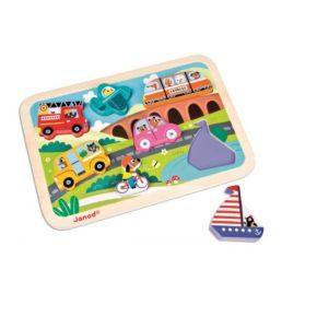 Janod drevené puzzle pre najmenších Autá