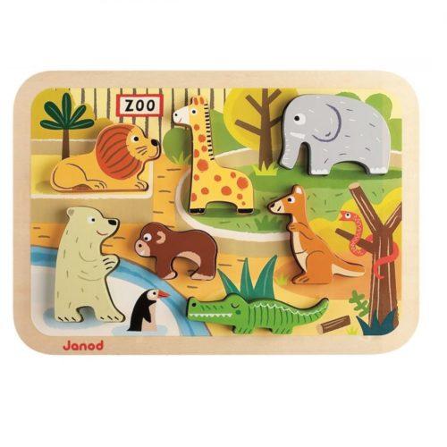 Janod drevené puzzle pre najmenších Zoo