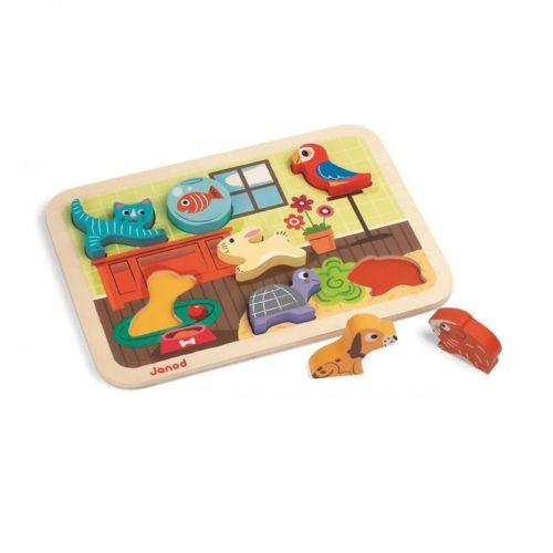 Janod drevené puzzle pre najmenších Zvieratká